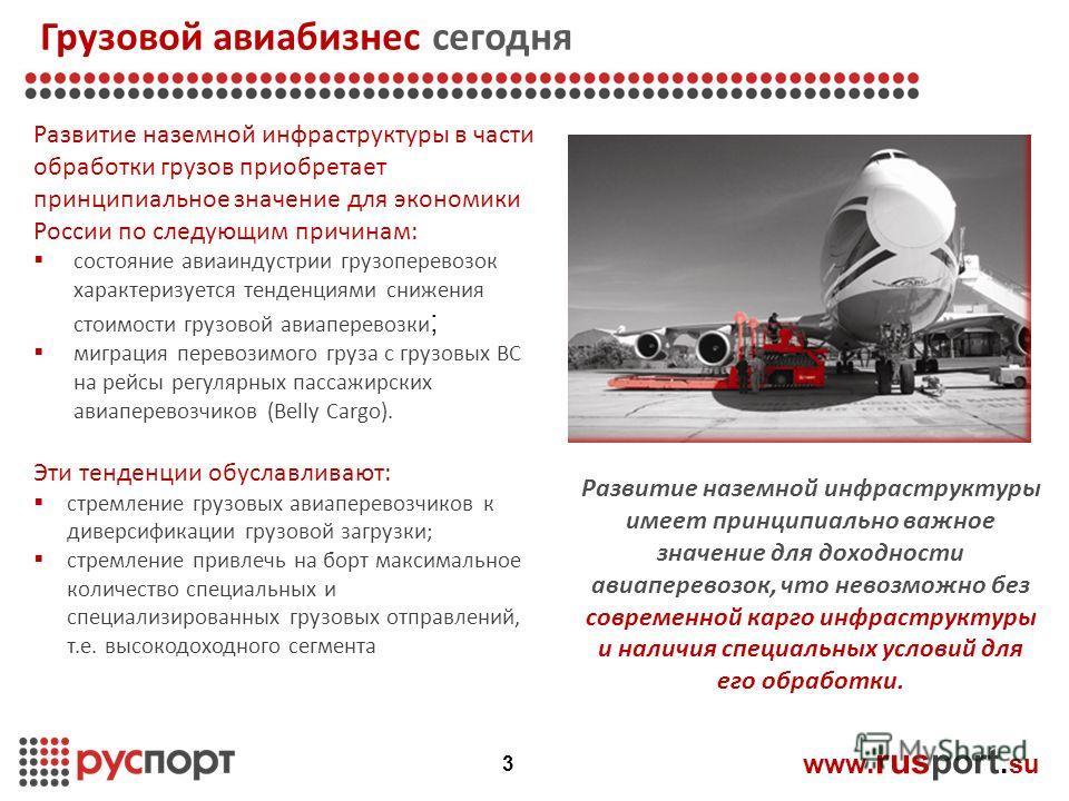 Грузовой авиабизнес сегодня www. rusport. su Развитие наземной инфраструктуры в части обработки грузов приобретает принципиальное значение для экономики России по следующим причинам: состояние авиаиндустрии грузоперевозок характеризуется тенденциями