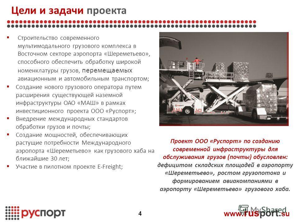 Цели и задачи проекта www. rusport. su Строительство современного мультимодального грузового комплекса в Восточном секторе аэропорта «Шереметьево», способного обеспечить обработку широкой номенклатуры грузов, перемещаемых авиационным и автомобильным