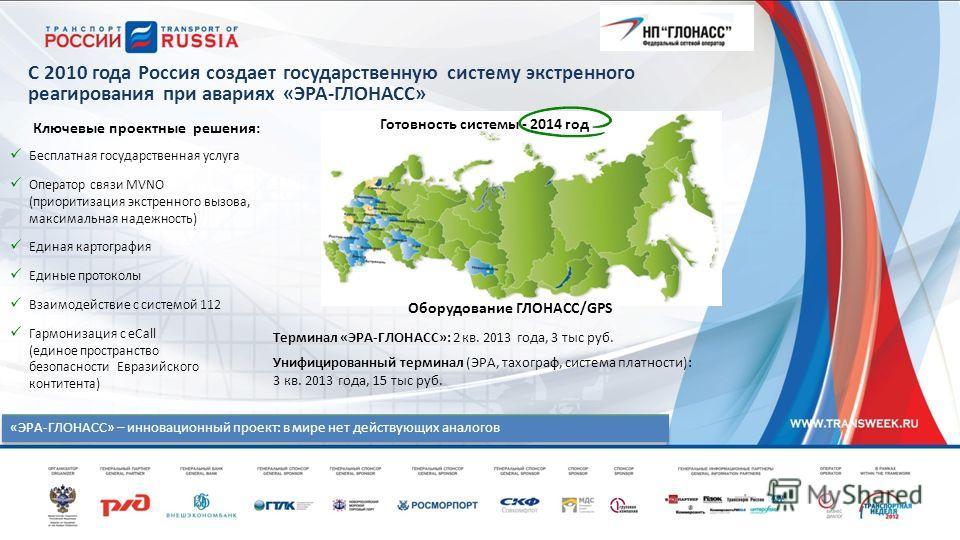 С 2010 года Россия создает государственную систему экстренного реагирования при авариях «ЭРА-ГЛОНАСС» Готовность системы - 2014 год «ЭРА-ГЛОНАСС» – инновационный проект: в мире нет действующих аналогов Бесплатная государственная услуга Оператор связи