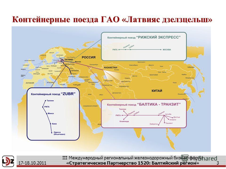 Контейнерные поезда ГАО «Латвияс дзелзцельш» 17-18.10.2011 III Международный региональный железнодорожный бизнес-форум «Стратегическое Партнерство 1520: Балтийский регион»3