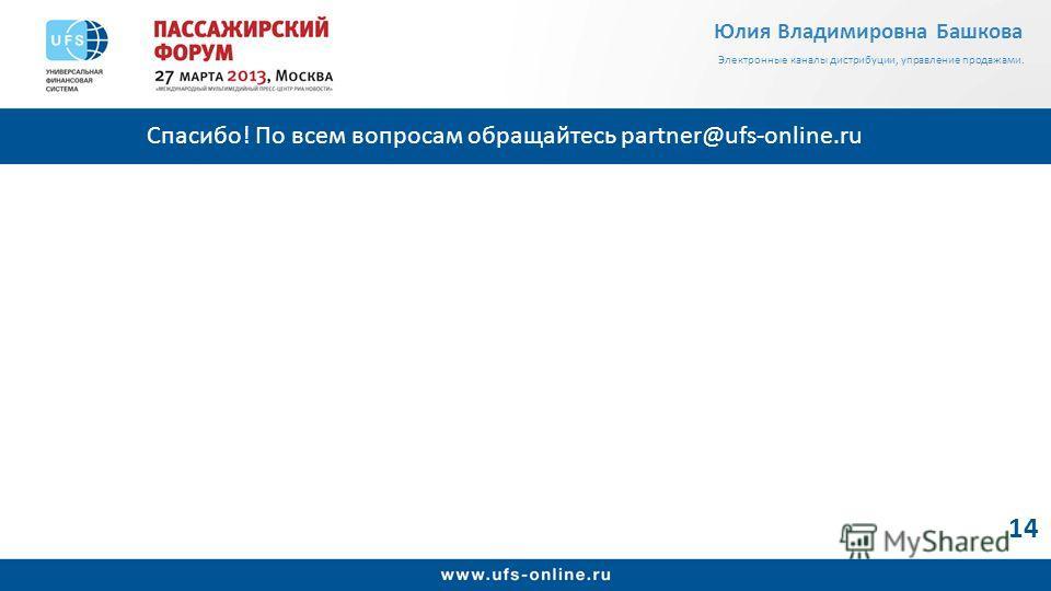 Спасибо! По всем вопросам обращайтесь partner@ufs-online.ru 14 Юлия Владимировна Башкова Электронные каналы дистрибуции, управление продажами.