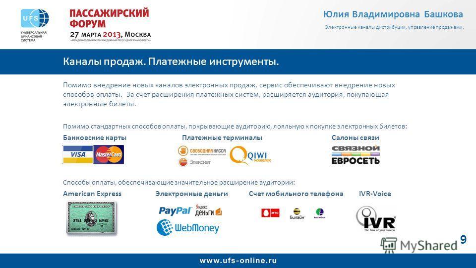 Каналы продаж. Платежные инструменты. Помимо внедрение новых каналов электронных продаж, сервис обеспечивают внедрение новых способов оплаты. За счет расширения платежных систем, расширяется аудитория, покупающая электронные билеты. Помимо стандартны