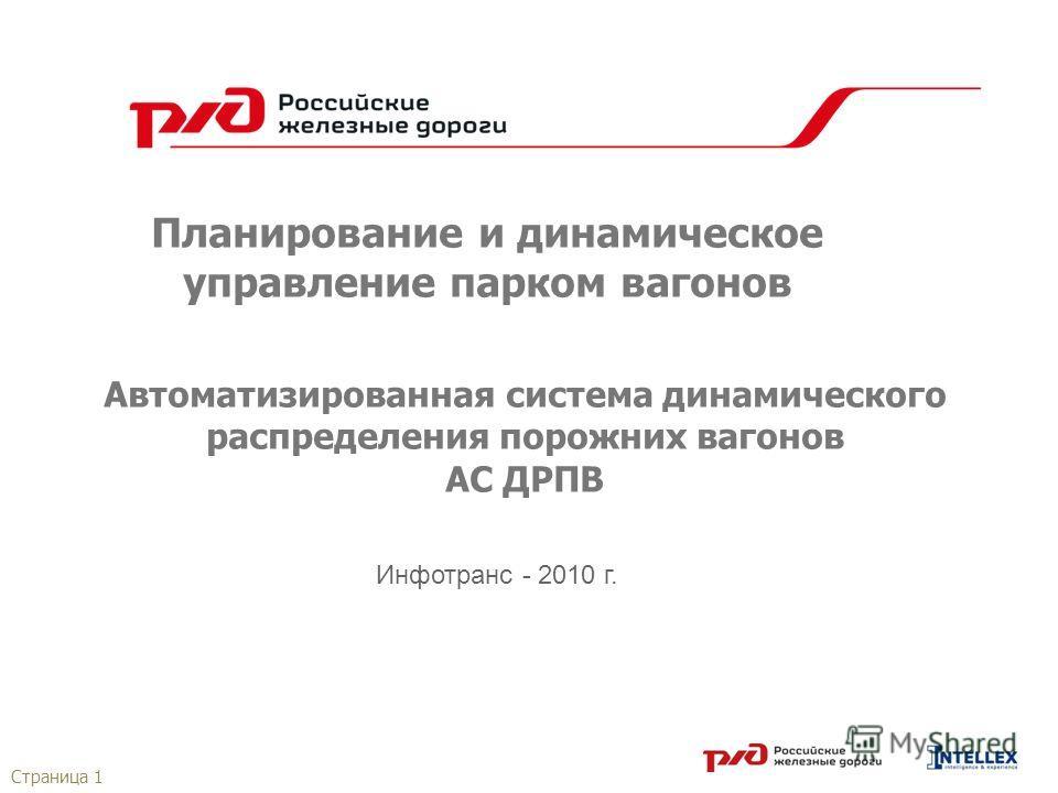 Страница 1 Планирование и динамическое управление парком вагонов Автоматизированная система динамического распределения порожних вагонов АС ДРПВ Инфотранс - 2010 г.