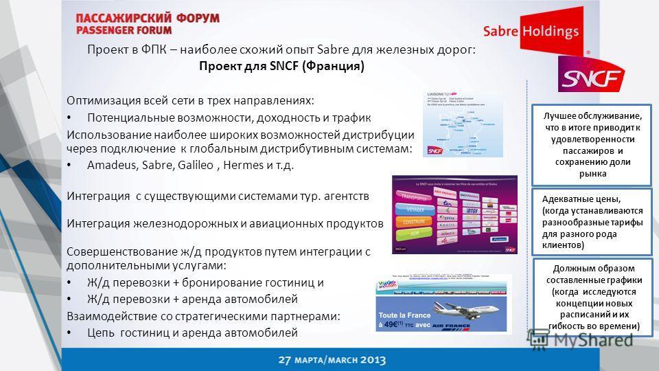 Проект в ФПК – наиболее схожий опыт Sabre для железных дорог: Проект для SNCF (Франция) Оптимизация всей сети в трех направлениях: Потенциальные возможности, доходность и трафик Использование наиболее широких возможностей дистрибуции через подключени