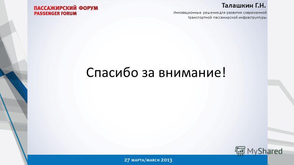 Талашкин Г.Н. Инновационные решения для развития современной транспортной пассажирской инфраструктуры Спасибо за внимание!