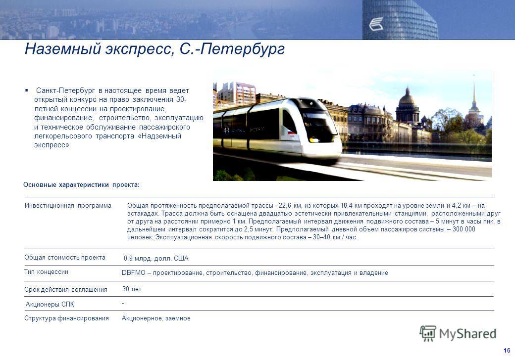 Наземный экспресс, С.-Петербург Санкт-Петербург в настоящее время ведет открытый конкурс на право заключения 30- летней концессии на проектирование, финансирование, строительство, эксплуатацию и техническое обслуживание пассажирского легкорельсового