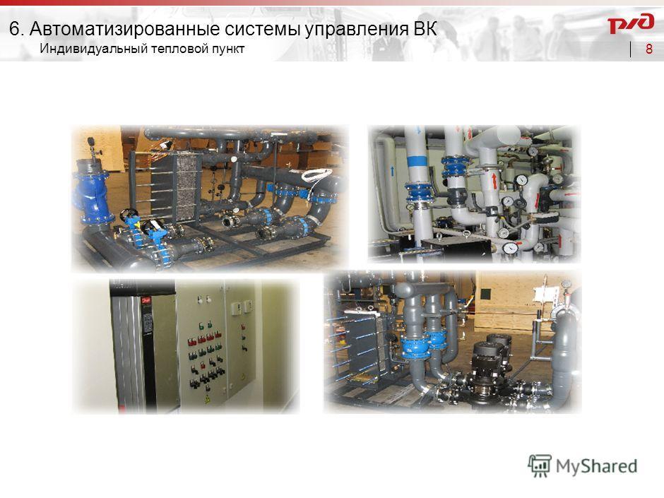 7 Не обмерзает до температуры -40 0 С Температурный КПД до 85% Вытяжной воздух Наружный воздух Отработанный воздух Приточный воздух Необмерзающий роторный утилизатор 6. Автоматизированные системы управления ВК