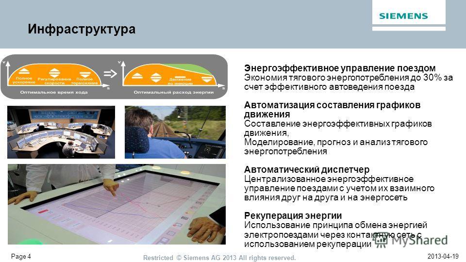 2013-04-19 Restricted © Siemens AG 2013 All rights reserved. Page 4 Инфраструктура Энергоэффективное управление поездом Экономия тягового энергопотребления до 30% за счет эффективного автоведения поезда Автоматизация составления графиков движения Сос