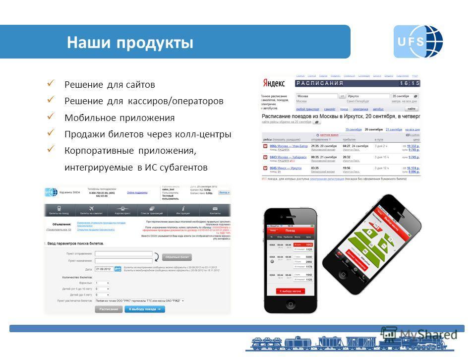 Наши продукты Решение для сайтов Решение для кассиров/операторов Мобильное приложения Продажи билетов через колл-центры Корпоративные приложения, интегрируемые в ИС субагентов