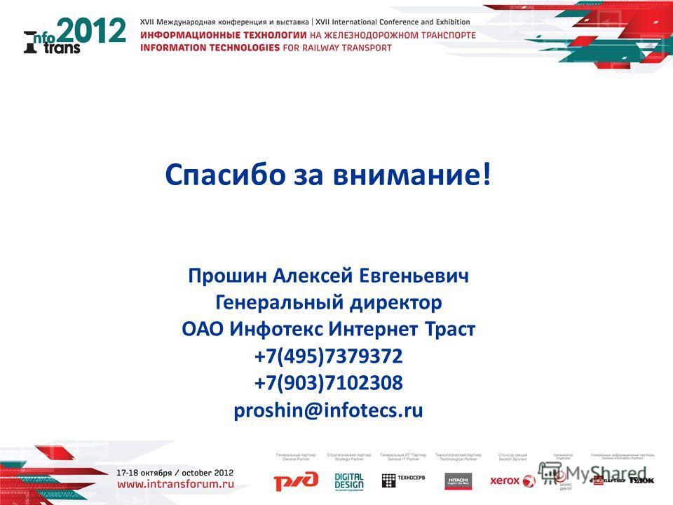 Спасибо за внимание! Прошин Алексей Евгеньевич Генеральный директор ОАО Инфотекс Интернет Траст +7(495)7379372 +7(903)7102308 proshin@infotecs.ru