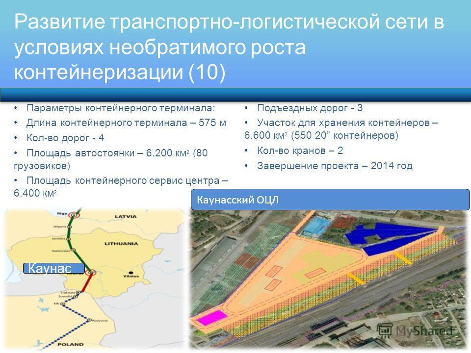 Развитие транспортно-логистической сети в условиях необратимого роста контейнеризации (10) Параметры контейнерного терминала: Длина контейнерного терминала – 575 м Кол-во дорог - 4 Площадь автостоянки – 6.200 км 2 (80 грузовиков) Площадь контейнерног