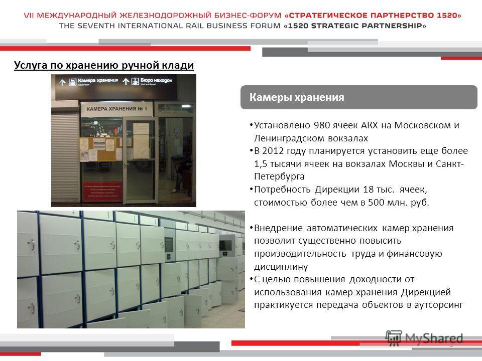 5 Камеры хранения Установлено 980 ячеек АКХ на Московском и Ленинградском вокзалах В 2012 году планируется установить еще более 1,5 тысячи ячеек на вокзалах Москвы и Санкт- Петербурга Потребность Дирекции 18 тыс. ячеек, стоимостью более чем в 500 млн