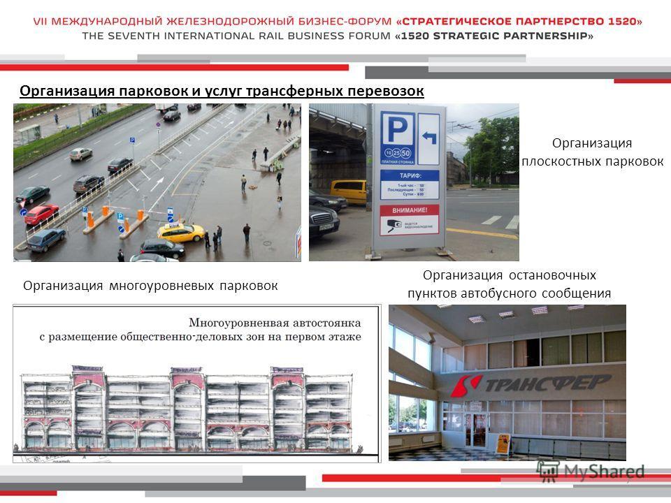 7 Организация парковок и услуг трансферных перевозок Организация плоскостных парковок Организация многоуровневых парковок Организация остановочных пунктов автобусного сообщения