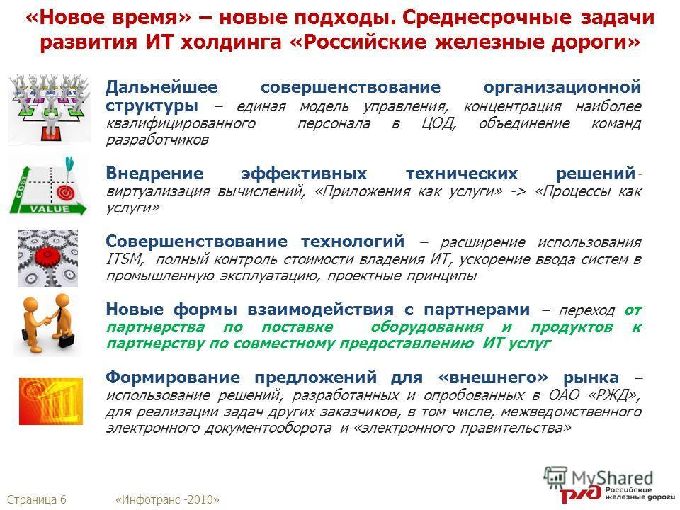 Страница 6 «Инфотранс -2010» «Новое время» – новые подходы. Среднесрочные задачи развития ИТ холдинга «Российские железные дороги» Дальнейшее совершенствование организационной структуры – единая модель управления, концентрация наиболее квалифицирован