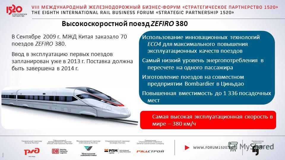 В Сентябре 2009 г. МЖД Китая заказало 70 поездов ZEFIRO 380. Ввод в эксплуатацию первых поездов запланирован уже в 2013 г. Поставка должна быть завершена в 2014 г. Использование инновационных технологий ECO4 для максимального повышения эксплуатационн