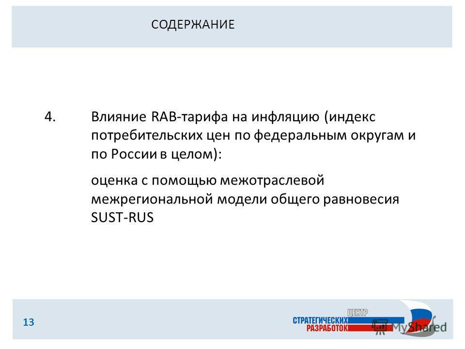 13 4.Влияние RAB-тарифа на инфляцию (индекс потребительских цен по федеральным округам и по России в целом): оценка с помощью межотраслевой межрегиональной модели общего равновесия SUST-RUS СОДЕРЖАНИЕ