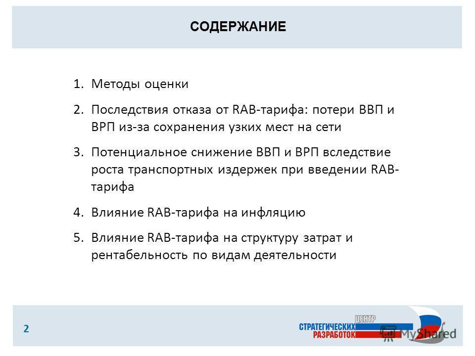 СОДЕРЖАНИЕ 2 1.Методы оценки 2.Последствия отказа от RAB-тарифа: потери ВВП и ВРП из-за сохранения узких мест на сети 3.Потенциальное снижение ВВП и ВРП вследствие роста транспортных издержек при введении RAB- тарифа 4.Влияние RAB-тарифа на инфляцию