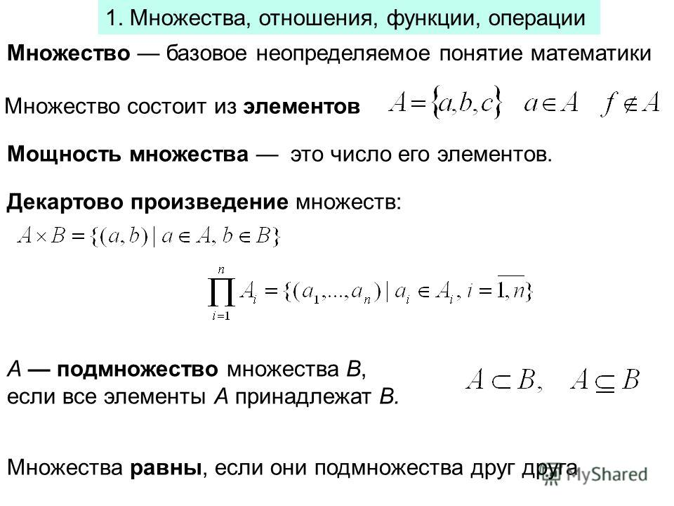 1. Множества, отношения, функции, операции Множество базовое неопределяемое понятие математики Множество состоит из элементов Декартово произведение множеств: Мощность множества это число его элементов. A подмножество множества B, если все элементы A