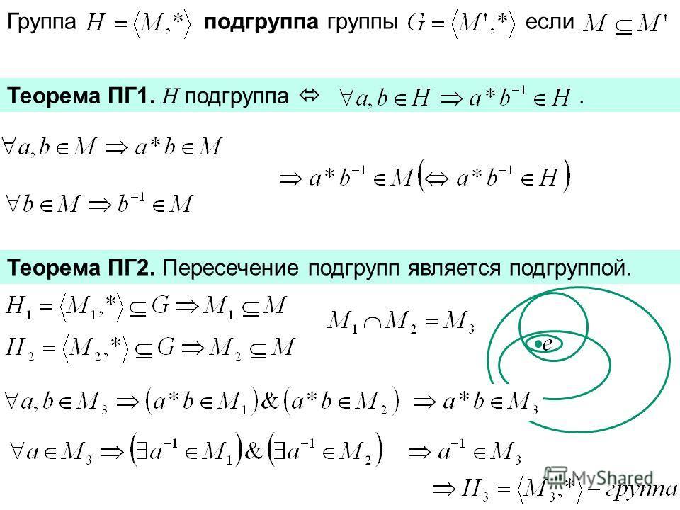 Группа подгруппа группы если Теорема ПГ1. H подгруппа. Теорема ПГ2. Пересечение подгрупп является подгруппой.