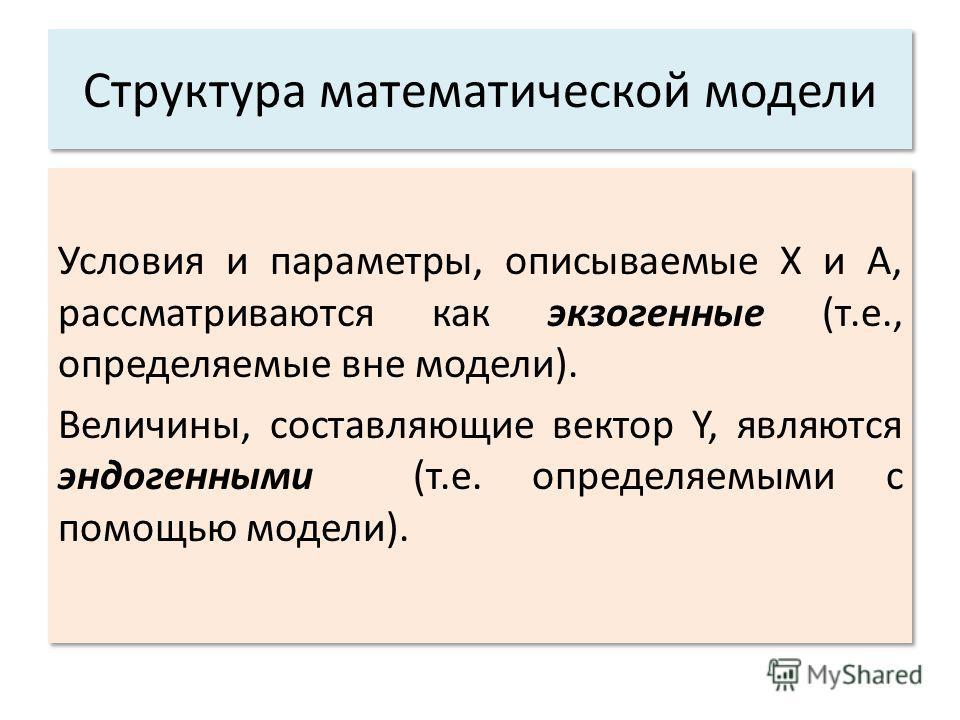 Структура математической модели Условия и параметры, описываемые X и А, рассматриваются как экзогенные (т.е., определяемые вне модели). Величины, составляющие вектор Y, являются эндогенными (т.е. определяемыми с помощью модели). Условия и параметры,