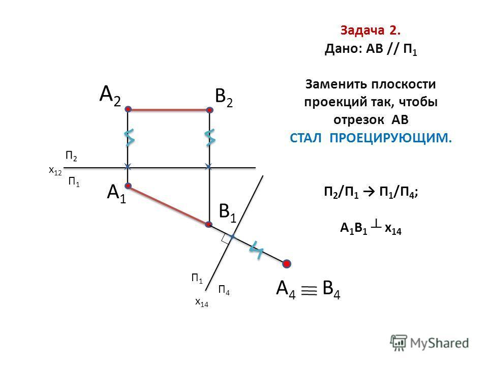 Задача 2. Дано: АВ // П 1 Заменить плоскости проекций так, чтобы отрезок АВ СТАЛ ПРОЕЦИРУЮЩИМ. П 2 /П 1 П 1 /П 4 ; А 1 В 1 x 14 П1П1 А2А2 В2В2 А1А1 В1В1 А4А4 В4В4 П1П1 П4П4 x 14 x 12