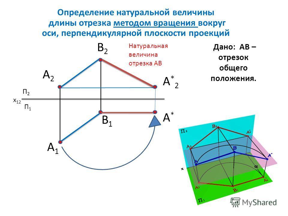 Дано: АВ – отрезок общего положения. Определение натуральной величины длины отрезка методом вращения вокруг оси, перпендикулярной плоскости проекций П1П1 А2А2 В2В2 А1А1 В1В1 А*1А*1 Натуральная величина отрезка АВ x 12 А*2А*2