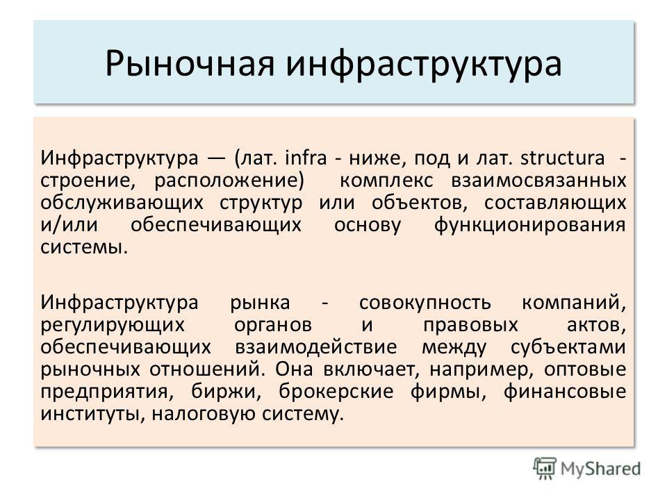 Рыночная инфраструктура Инфраструктура (лат. infra - ниже, под и лат. structura - строение, расположение) комплекс взаимосвязанных обслуживающих структур или объектов, составляющих и/или обеспечивающих основу функционирования системы. Инфраструктура