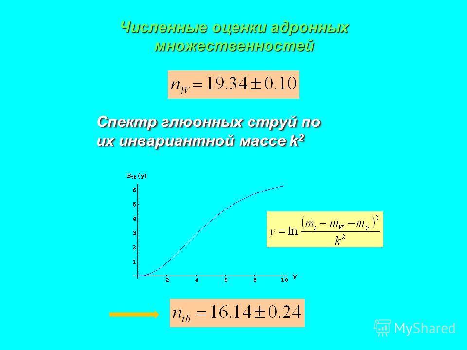 Численные оценки адронных множественностей Спектр глюонных струй по их инвариантной массе k 2