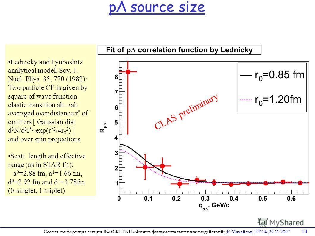 Lednicky and Lyuboshitz analytical model, Sov. J. Nucl. Phys. 35, 770 (1982): Two particle CF is given by square of wave function elastic transition abab averaged over distance r * of emitters [ Gaussian dist d 3 N/d 3 r * ~exp(r *2 /4r 0 2 ) ] and o