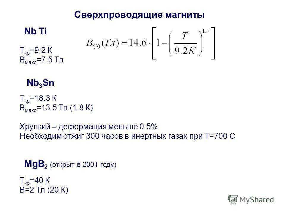 T кр =18.3 К B макс =13.5 Тл (1.8 К) Хрупкий – деформация меньше 0.5% Необходим отжиг 300 часов в инертных газах при T=700 C Nb 3 Sn T кр =9.2 К B макс =7.5 Тл Nb Ti Сверхпроводящие магниты T кр =40 К B=2 Тл (20 К) MgB 2 (открыт в 2001 году)