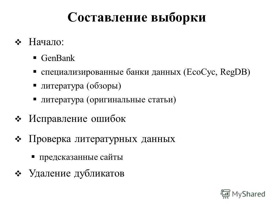 Начало: Исправление ошибок Проверка литературных данных Удаление дубликатов Составление выборки GenBank специализированные банки данных (EcoCyc, RegDB) литература (обзоры) литература (оригинальные статьи) предсказанные сайты