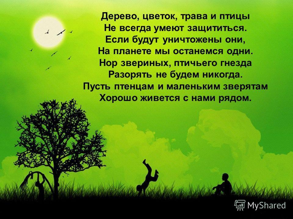 Дерево, цветок, трава и птицы Не всегда умеют защититься. Если будут уничтожены они, На планете мы останемся одни. Нор звериных, птичьего гнезда Разорять не будем никогда. Пусть птенцам и маленьким зверятам Хорошо живется с нами рядом.