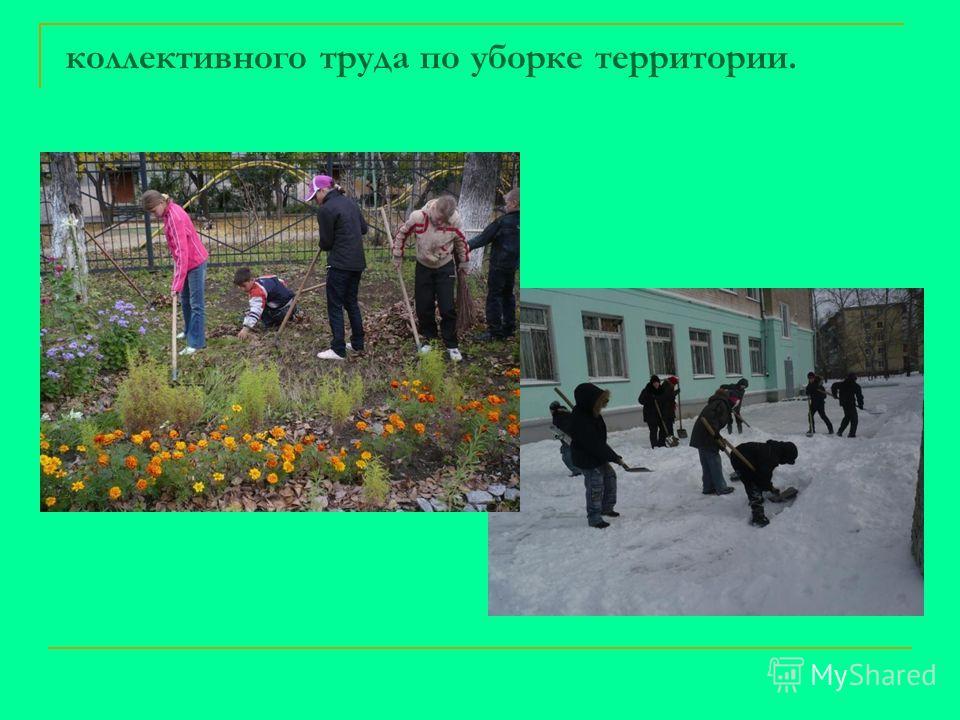 коллективного труда по уборке территории.