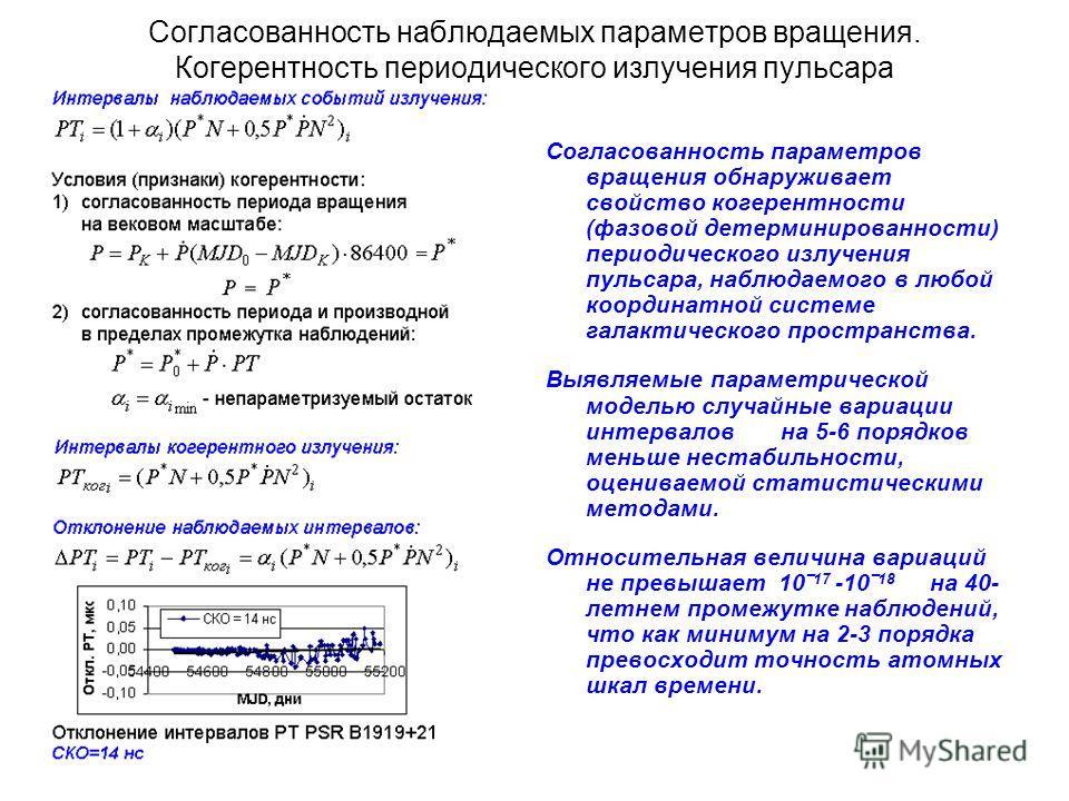 Согласованность наблюдаемых параметров вращения. Когерентность периодического излучения пульсара Согласованность параметров вращения обнаруживает свойство когерентности (фазовой детерминированности) периодического излучения пульсара, наблюдаемого в л