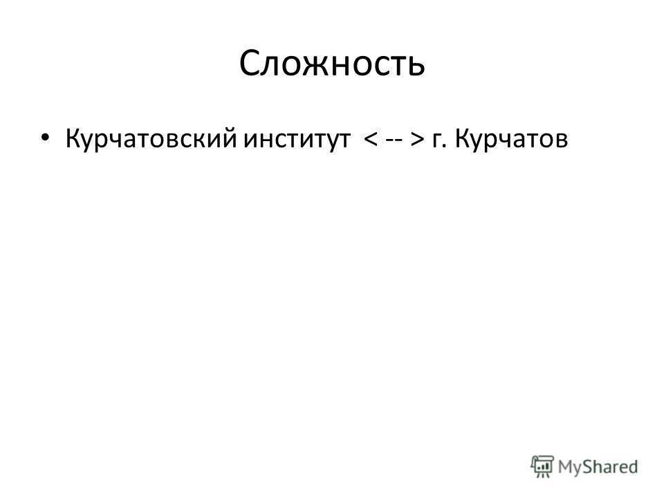 Сложность Курчатовский институт г. Курчатов