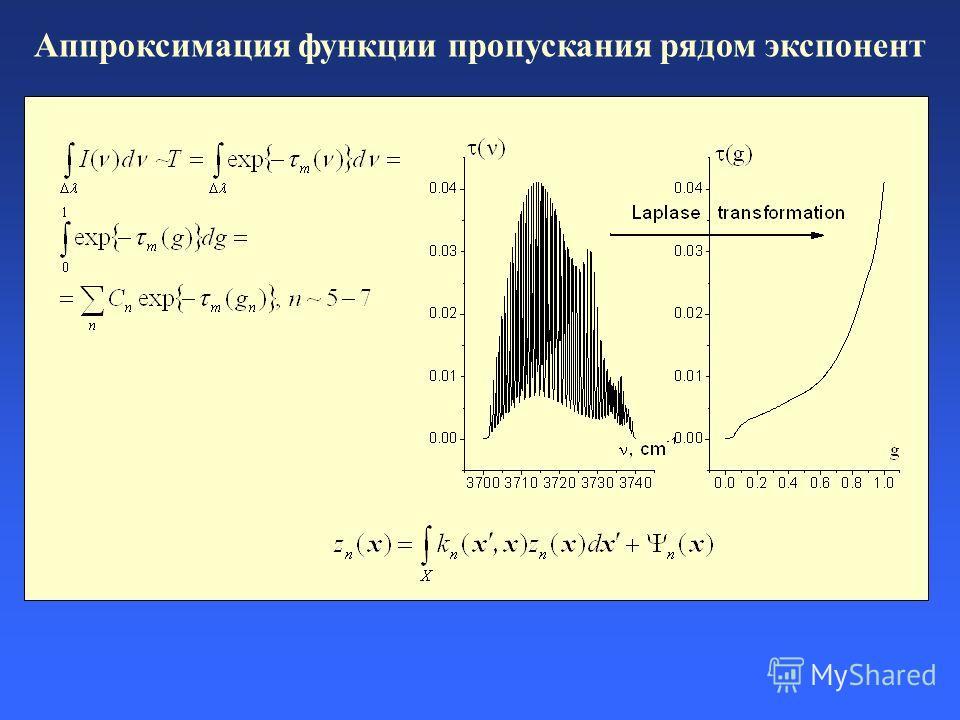 Аппроксимация функции пропускания рядом экспонент