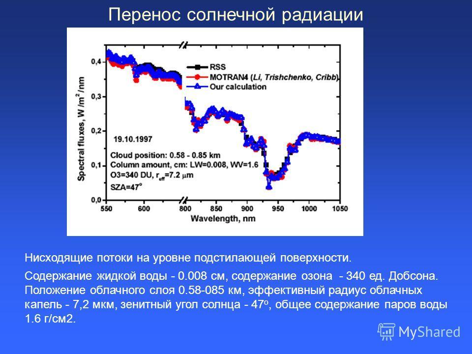 Перенос солнечной радиации Нисходящие потоки на уровне подстилающей поверхности. Содержание жидкой воды - 0.008 см, содержание озона - 340 ед. Добсона. Положение облачного слоя 0.58-085 км, эффективный радиус облачных капель - 7,2 мкм, зенитный угол