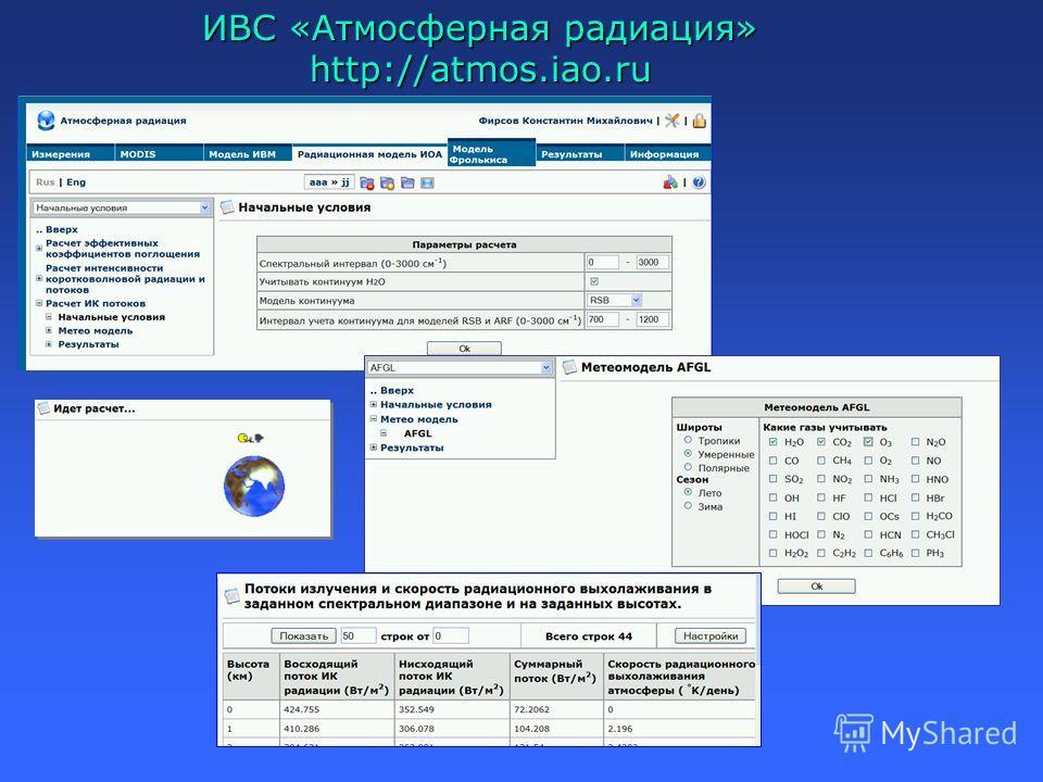 ИВС «Атмосферная радиация» http://atmos.iao.ru
