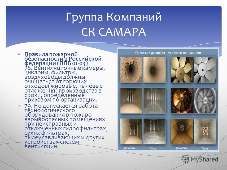 Правила пожарной безопасности в Российской федерации (ППБ 01-03) 78. Вентиляционные камеры, циклоны, фильтры, воздуховоды должны очищаться от горючих отходов(жировые, пылевые отложения) производства в сроки, определенные приказом по организации. 79.