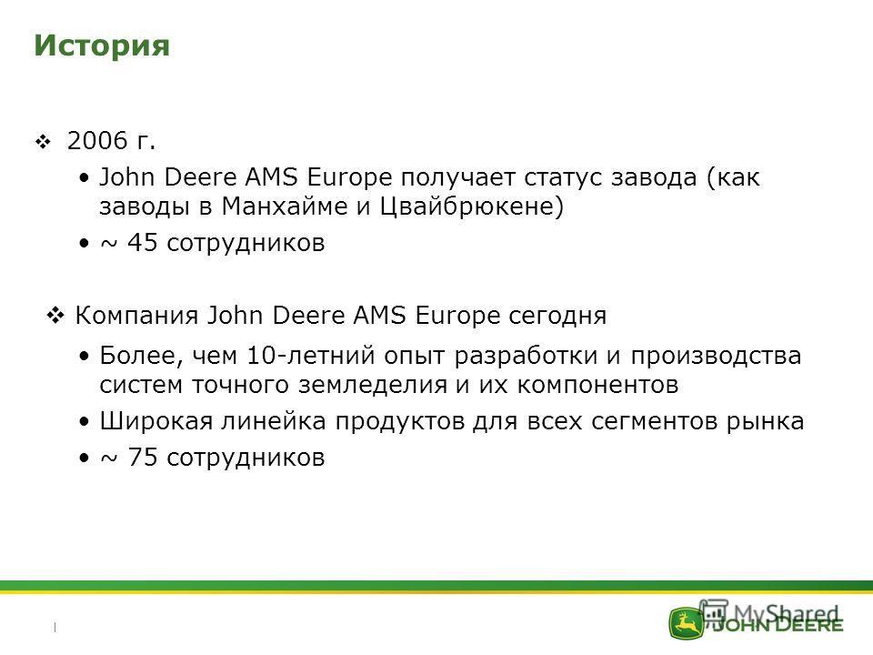 | История 2006 г. John Deere AMS Europe получает статус завода (как заводы в Манхайме и Цвайбрюкене) ~ 45 сотрудников Компания John Deere AMS Europe сегодня Более, чем 10-летний опыт разработки и производства систем точного земледелия и их компоненто