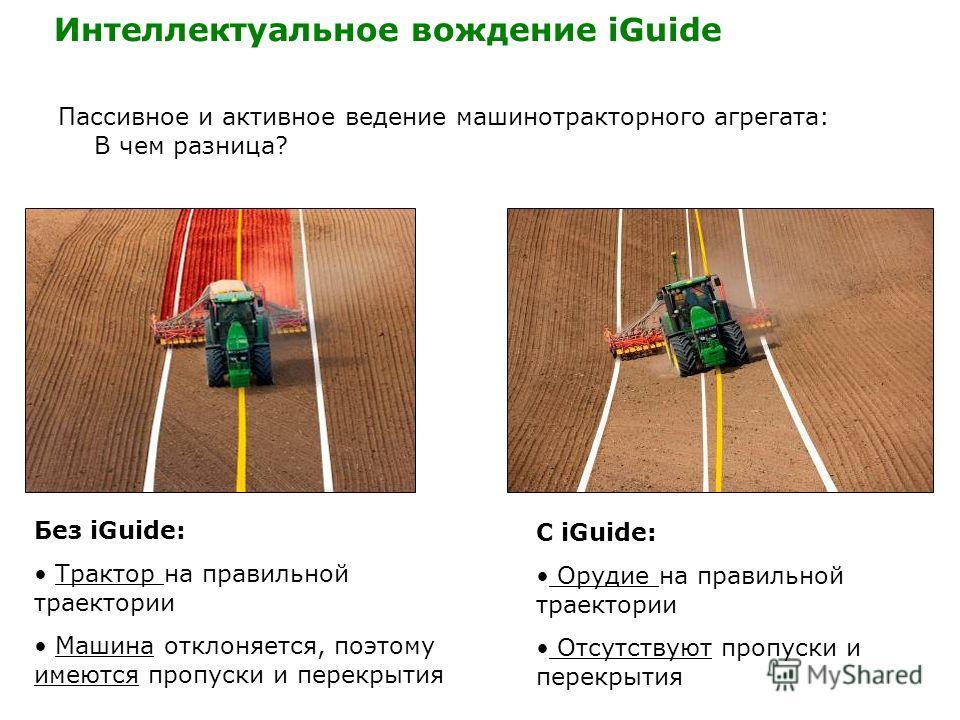 Пассивное и активное ведение машинотракторного агрегата: В чем разница? Без iGuide: Трактор на правильной траектории Машина отклоняется, поэтому имеются пропуски и перекрытия С iGuide: Орудие на правильной траектории Отсутствуют пропуски и перекрытия