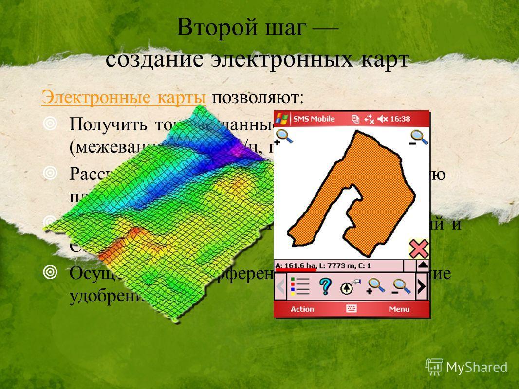 Второй шаг создание электронных карт Электронные карты позволяют: Получить точные данные о площади полей (межевание, расчёт з/п, планирование); Рассчитать продуктивную и непродуктивную площадь (ЛЭП, овраги, дороги) Скорректировать нормы внесения удоб