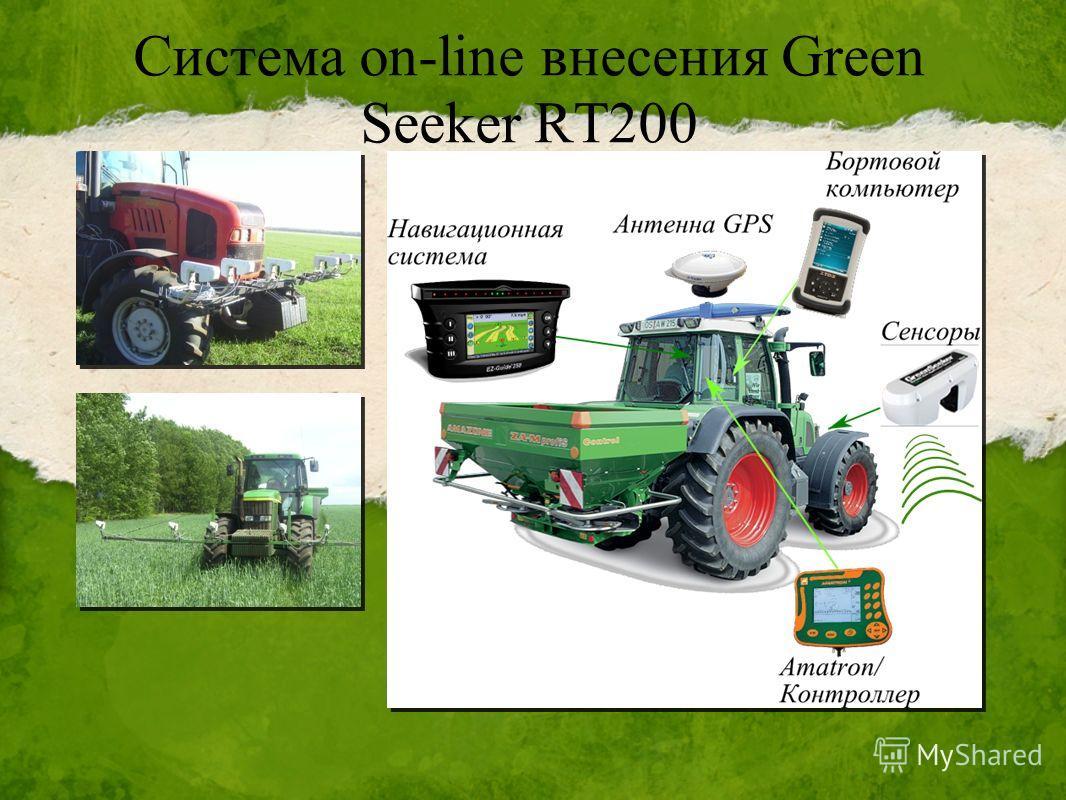 Система on-line внесения Green Seeker RT200 Система излучает свет в двух диапазонах, измеряет отражение и выводит Стандартизированный индекс различий растительного покрова (NDVI)- значение, показывающее количество и мощность растительного вещества в