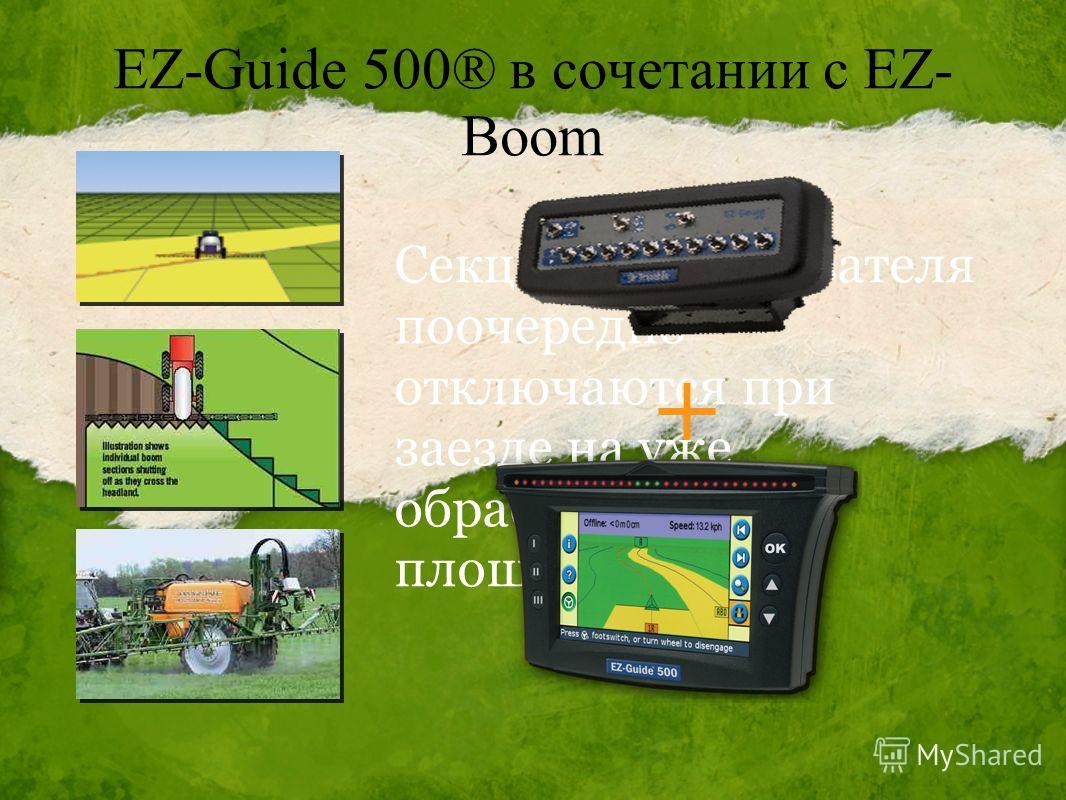 EZ-Guide 500® в сочетании с EZ- Boom Секции опрыскивателя поочередно отключаются при заезде на уже обработанную площадь. +