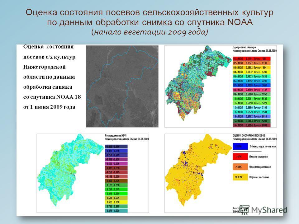 Оценка состояния посевов сельскохозяйственных культур по данным обработки снимка со спутника NOAA ( начало вегетации 2009 года )