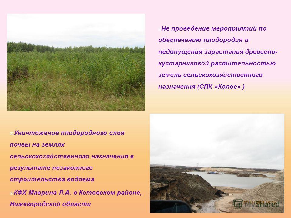 Не проведение мероприятий по обеспечению плодородия и недопущения зарастания древесно- кустарниковой растительностью земель сельскохозяйственного назначения (СПК «Колос» ) Уничтожение плодородного слоя почвы на землях сельскохозяйственного назначения