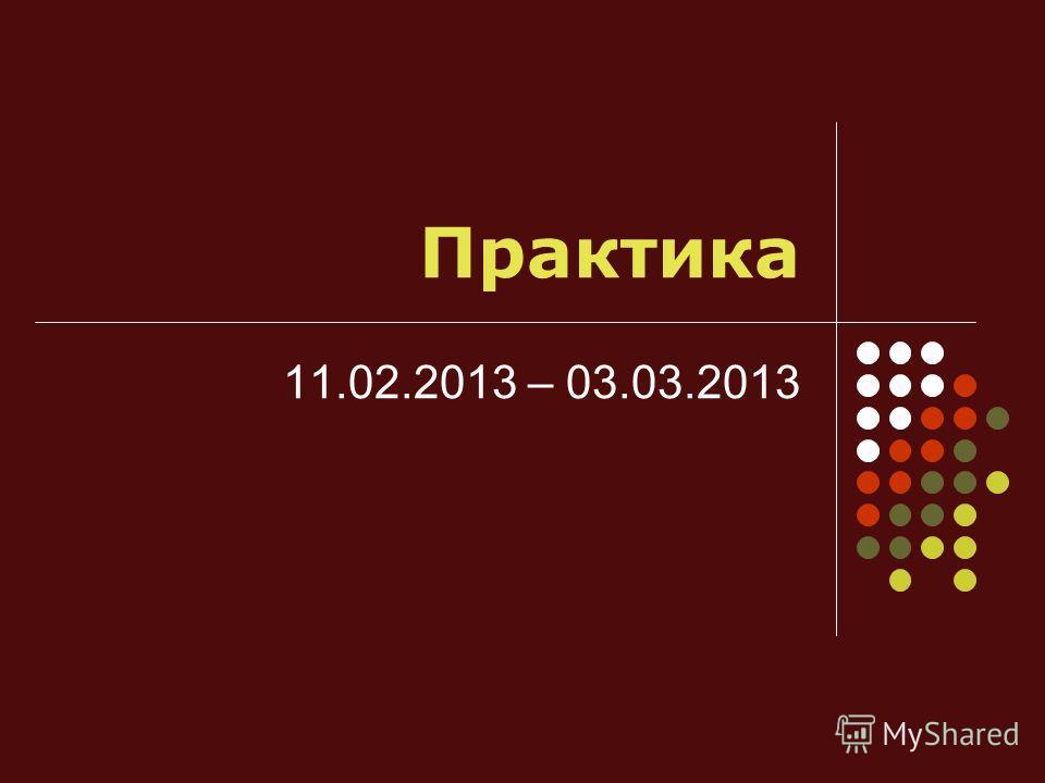 Практика 11.02.2013 – 03.03.2013