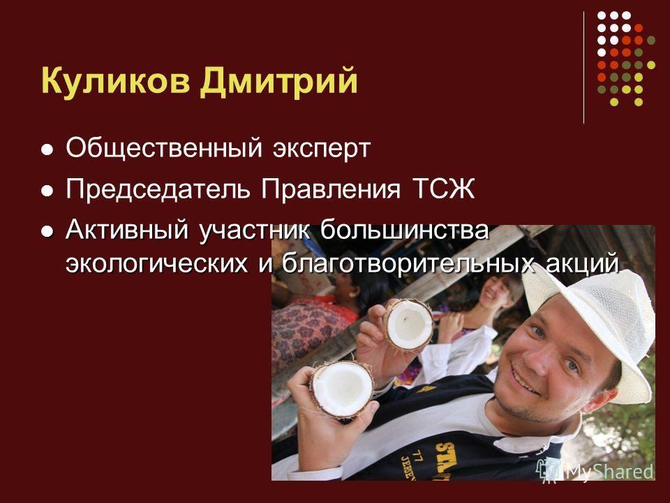Куликов Дмитрий Общественный эксперт Председатель Правления ТСЖ Активный участник большинства экологических и благотворительных акций