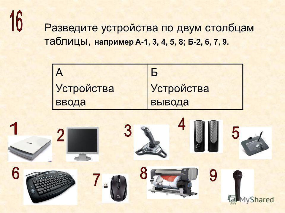 Разведите устройства по двум столбцам таблицы, например А-1, 3, 4, 5, 8; Б-2, 6, 7, 9. А Устройства ввода Б Устройства вывода