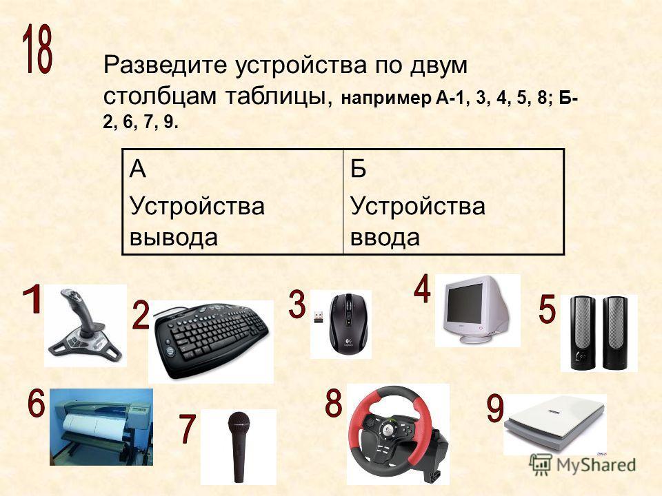 Разведите устройства по двум столбцам таблицы, например А-1, 3, 4, 5, 8; Б- 2, 6, 7, 9. А Устройства вывода Б Устройства ввода